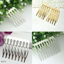 10Pcs Silver Gold Metal Combs Clip Pin Hair Accessories Making