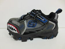 SALE Skechers Gripperz Sharks Tooth Boy's Charcoal/Blue Coated Leather Trainers