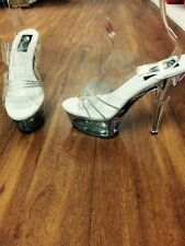 "Pleaser stiletto .6.5"" heel with 2"" clear platform and diamante strap 12 13 14"
