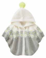 NWT GYMBOREE COZY SKI LODGE GRAY HOODED SNOWFLAKE SWEATER CAPE PONCHO 2T