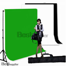 Photo Studio Black White/G Muslin Backdrops 2.8x3M Background Stand Support Case