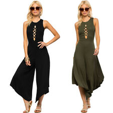 Sexy Women Laces Bodycon Jumpsuit Sleeveless Rompers Wide Leg Cropped Pantskirt