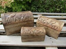 Indian Hand Carved Made Mango Wood Wooden Elephant Family Jewellery Box Holder