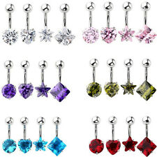 4pc 14G CZ Gems Steel Barbell Navel Bars Belly Button Ring Body Piercing Jewelry