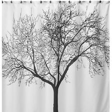 Bathroom Fabric Shower Curtain Landscape Big Tree Waterproof With 12 Hooks