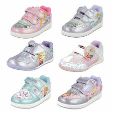 GIRLS SIZE DISNEY TRAINERS ELLA ANNA FROZEN PRINCESS PINK PURPLE FLAT GIFT SHOES
