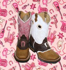 Cowboy Girl Boots youth sizes leather square toe rodeo boys western Best $$45.99