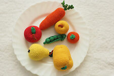 Vegetables and fruits SET 7pics. toy play food. Crochet amigurumi. Fun TOY kids