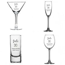 Personalised Engraved Birthday Gift Present Wine Shot Flute Glass 18th 21st 40th
