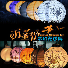 1X LED Paper Lantern Pumpkin Spider Bat Hanging Light Halloween Party Decor NEW