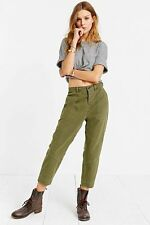 new nwt urban outfitters BDG Seamed Uniform Trouser Pant army green linen 0 4 6
