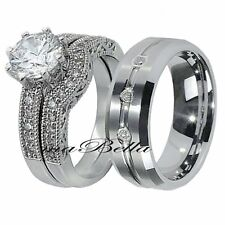 His Tungsten Hers Sterling Silver 3 Pcs CZ Engagement Wedding Ring Band Set