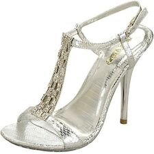 WOMENS NEW AU SILVER HIGH HEELS WEDDING BRIDAL LADIES PARTY GIRLS EVENING SHOES