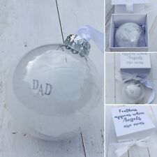 Personalised Feather In Memory, Glass Christmas Ornament, Gift Boxed