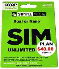 PRELOADED Simple Mobile SIM Prepaid. FREE $40 PLAN 1ST MONTH. UNACTIVATED