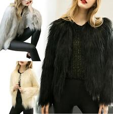 Luxury Women Long Hairy Shaggy Faux Fur Warm Winter Coat Jacket Outwear Parka