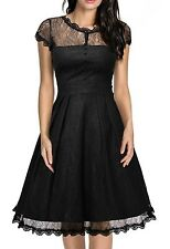 Goth Homecoming Gown Dress Retro Lace Cap Sleeve Vintage Swing Bridesmaid
