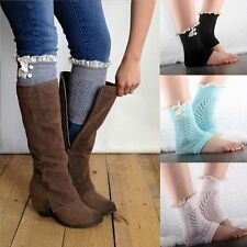 Fashion Women Ladies Crochet Knit Lace Trim Leg Warmers Cuffs Toppers Boot Socks