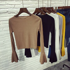 Women Knit T-shirt Flare Stretch Cotton Bell Long Sleeve Slim Blouse Crop Top