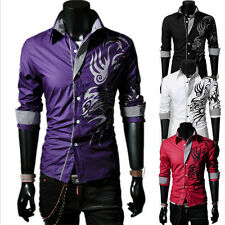 Fashion Mens Slim Fit Dragon Tattoo Work Casual Formal Dress Shirts T-shirt Tops
