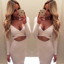 2016 Women Long Sleeve Bandage Bodycon Mini Dress Evening Night Club Wear Dress