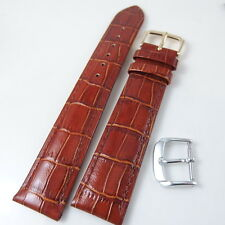 HQ XL 18mm 20mm BROWN GLOSS ITALY CROC GRAIN LEATHER WATCH BAND LENGTHENED STRAP
