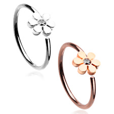 Rose Gold Flower Gem Bendable Steel Nose Hoop Silver CZ Clear Body Jewelry Sexy
