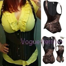 Sexy Satin Steel Boned Lace Up Underbust Corset Top Bustier Lingerie Size S-2XL