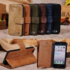 New Genuine Premium Leather Stand Cover Skin Pouch Wallet Case For iPhone 5,5s