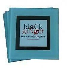 GLASS PICTURE PHOTO FRAME COASTERS DRINKS MATS x4