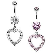 Heart Affection Belly Button Ring Clear Pink Lover Navel Fancy CZ Sexy Beautiful