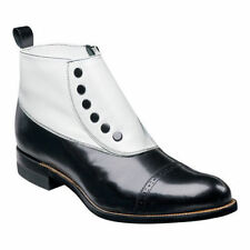 Stacy Adams Mens Madison Black and  White Boot Biscuit Toe Zipper 00026-111
