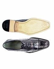 Belvedere Mens Shoes Onesto II Ostrich Crocodile Skin Navy Blue Elegant 1419 New