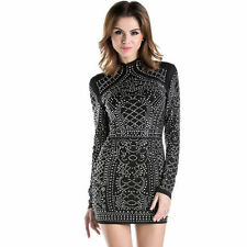 Sexy Woman High-Necked Long-Sleeved Rhinestone bodycon Club party Mini Dress