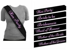 BLACK HEN PARTY SASHES HEN NIGHT PARTY DO ACCESSORIES BRIDE TO BE BRIDESMAID