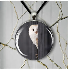 BIRD WHITE OWL ROUND PENDANT NECKLACE -trl9X