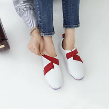 Women's round toe flats leather fastening velcro comfort athletic sneakers red