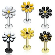 Golden Spring Blossom Flower Top Steel Labret Silver Yellow Black White Monroe