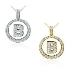 """Alphabet Letter """" B """" Round Disc Initial Pendant With 18"""" Chain 14K Yellow Gold"""