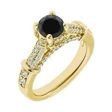 1 Carat Black Diamond Solitaire Promise Engagement Wedding Ring 14K Yellow Gold