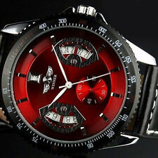 WINNER Red Automatic Mechanical Date Analog Black Leather Band Men's Wrist Watch