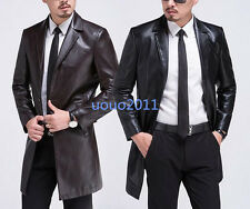 New Mens Button Mid Long Dress Casual Jackets Trench Sheepskin Leather Coats Sz