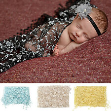 Newborn Baby Boys Girls Lace Tassel Photography Scarf Quilt Photo Prop Dainty
