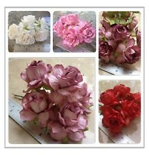20 Artificial Mulberry Paper flowers Handmade Scrap-booking Tiny Big Rose 45 mm.