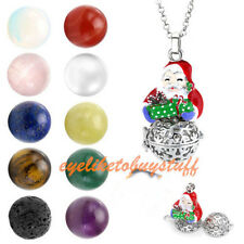 Santa Claus Gems Quartz Beads Openable Locket Pendant Chain Necklace Xmas Gift