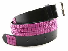 3 Row Pink Metal Studded Mens Womens Punk Rock Biker Leather Belt Strap