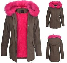 Womens Ladies Soft Cotton Warm Jacket Lined Coat Fur Pink Khaki Parka Winter