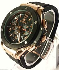 Mens Chronograph Military Designer Quartz Watch Black and Silver Dial Hublot