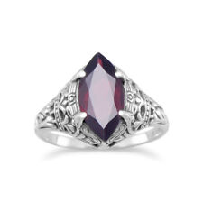 Marquise Garnet Ring Sterling Silver Antique Finish Vintage Style, Sizes 5 to 9