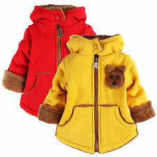 Boys Girls Winter Zipper Coat Cartoon Bear Hoodies Sweater Fleece Jacket Outwear